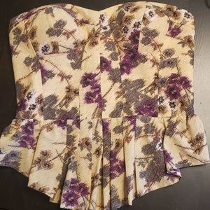 Jessica Simpson Floral Bustier Top - Medium